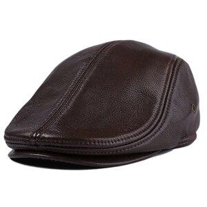 Image 5 - 2020 חדש לגמרי גברים של אמיתי עור אמיתי כובע בייסבול כובע מותג newsboy/כומתה כובע חורף חם כובעי כובעי עור פרה כובע