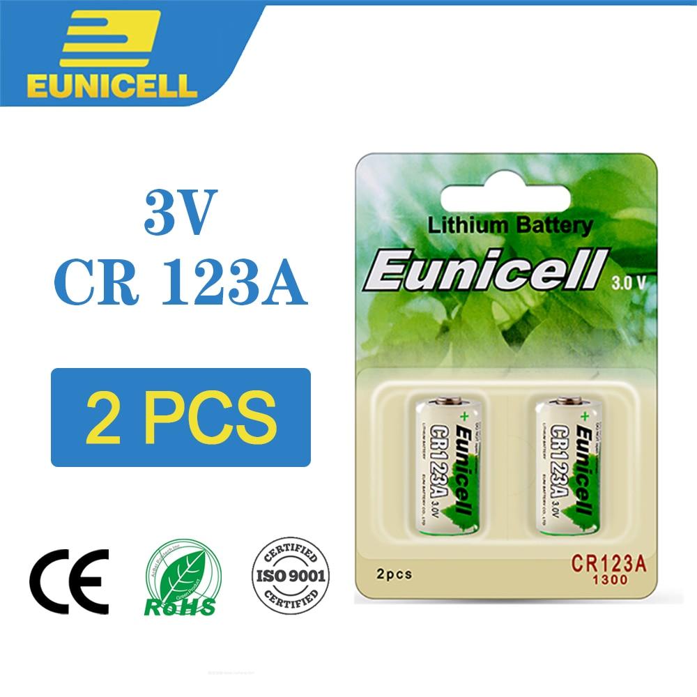 2PC Eunicell CR123A 123A CR123 16340 Li-MnO2 3V Lithium Battery CR17345 KL23a VL123A DL123A 5018LC EL123AP For Camera Flashlight