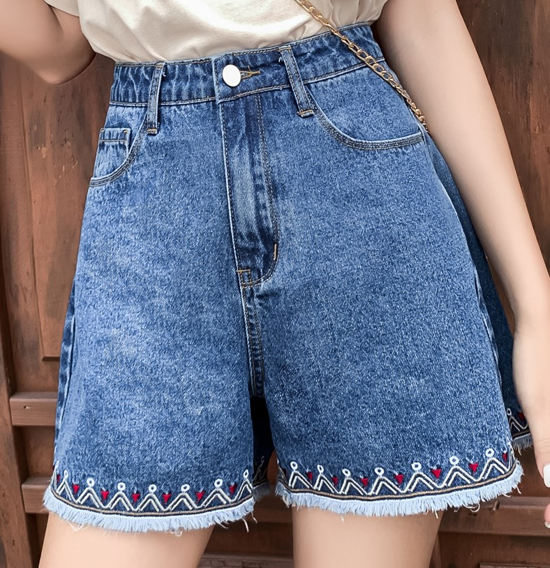 New Womens Summer  High Waist Embroidered  Denim Jeans Shorts Casual Loose Ladies Female Plus Size Blue Jeans