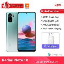 Em estoque versão global xiaomi redmi nota 10 telefone inteligente snapdragon 678 48mp quad câmera celulares 4gb 128gb amoled note10