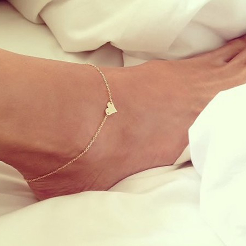 Ankle chain female heart-shaped pendant anklet fine anklet boho beach resort jewelry anklets for women