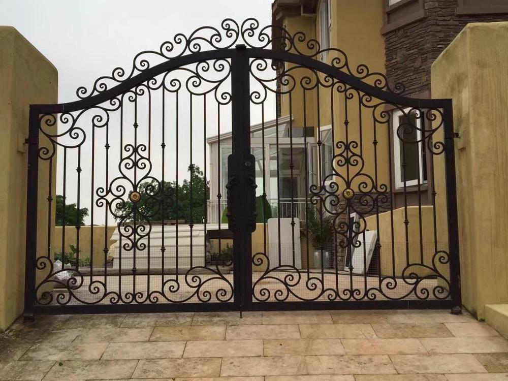 China Iron Company Fancy Automatic Remote Control Driveway Wrought Iron Gates Hc-4
