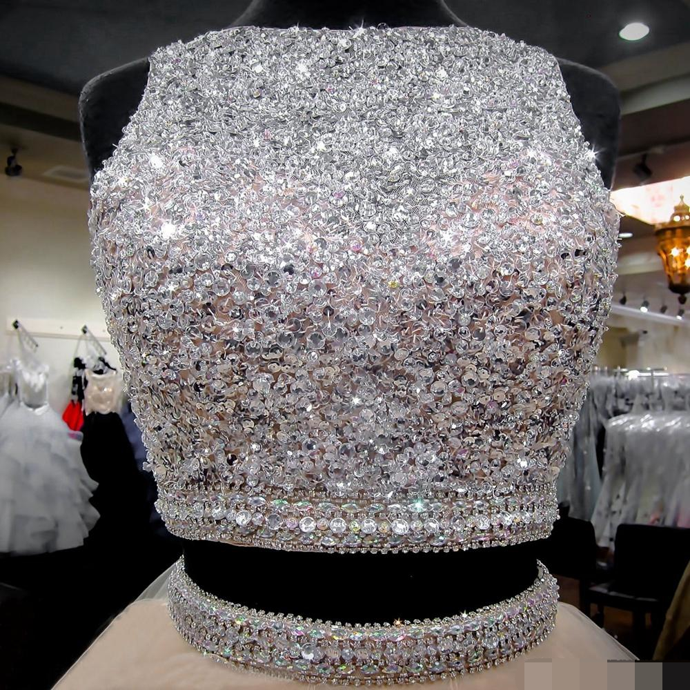 Quinceanera Dresses 2019 Modest Sweet 15 Ball Gown Ruffles Two Pieces Beads Sequins Keyhole Debutante Vestidos De 15 prom dress