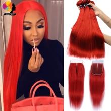 Remyblue בצבע 99J בורדו אדום חבילות עם סגירה ברזילאי ישר שיער טבעי 3 חבילות עם סגירת רמי שיער Weave