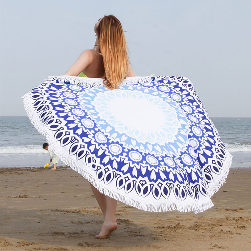 Multi functional beach towel superfine fiber circular fringed Shawl NEW quick drying beach towel summer camping beach mat in Swimming Towels from Sports Entertainment