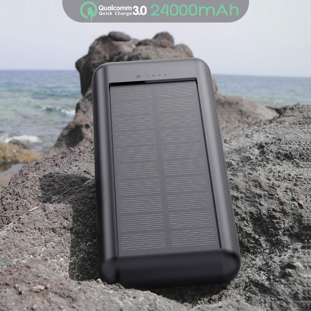PD QC 3.0 rapide chargeur batterie externe 24000mAh capacité Powerbank Triple USB téléphone externe chargeur de batterie pour iPhone X Xr Xs Xsmax