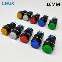 Interruptor de botón de 16MM, 5 pines, tipo redondo, contacto de plata, momentáneo y autobloqueo, 1NO1NC, 5V, 12V, 24V, 220V, reinicio con lámpara Led