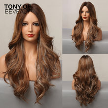 Long Brown with Blonde Highlight Synthetic Wigs Middle Part for Afro Women Natural Wavy Hair Daily Cosplay Heat Resistant Wigs