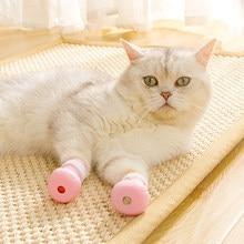 Funda de baño antimordedura para zapatos de gato, Protector de patas para mascotas, antiarañazos, ajustable