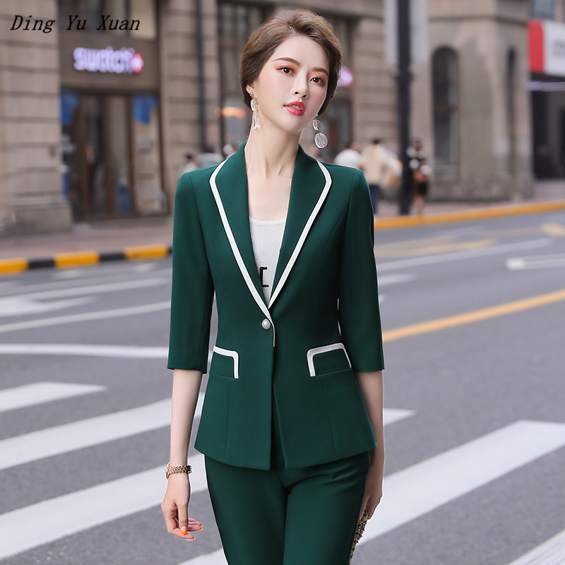 Summer Women Office Pants Suits for Women Short Sleeve Blazer and Pants Two Piece Sets High Quality Woman Pink Green Red Suits
