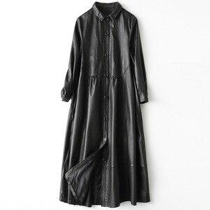 Image 1 - Gabardina de piel auténtica para mujer, abrigo largo sencillo de piel de oveja, color negro clásico, chaquetas con cuello vuelto para oficina