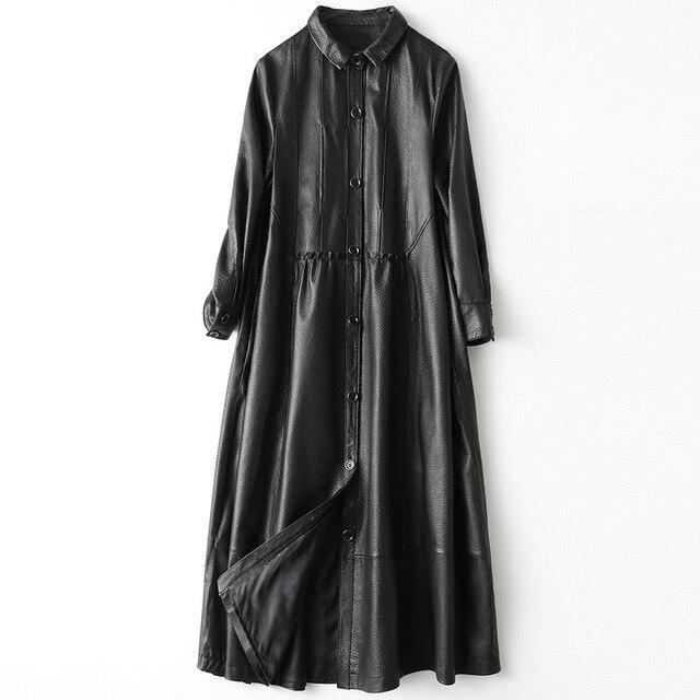 Gabardina de piel auténtica para mujer, abrigo largo sencillo de piel de oveja, color negro clásico, chaquetas con cuello vuelto para oficina