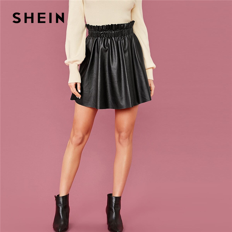 SHEIN Black Frilled Waist Faux Leather Skirt Women Spring High Waist Lady A Line Glamorous Cute Mini PU Skirts