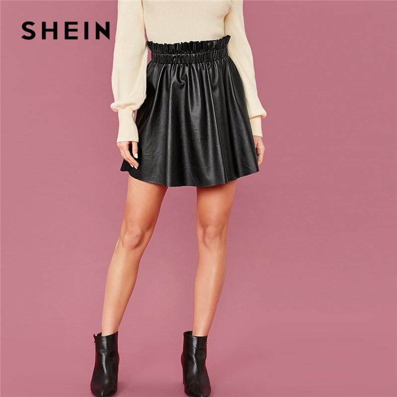 SHEIN Black Frilled Waist Faux Leather Skirt Women Spring High Waist Lady A Line Glamorous Cute Mini PU Skirts