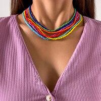 SHIXIN Bunte Perlen Halsband Halskette für Frauen Mode Regenbogen Perlen Kette Um den Hals Halsketten Set Collier Femme Schmuck