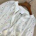 LouLan Queen Long Sleeve Women Runway/Summer/White/Party/Beach/Elegant/Floral Dress Dress Woman Party Night