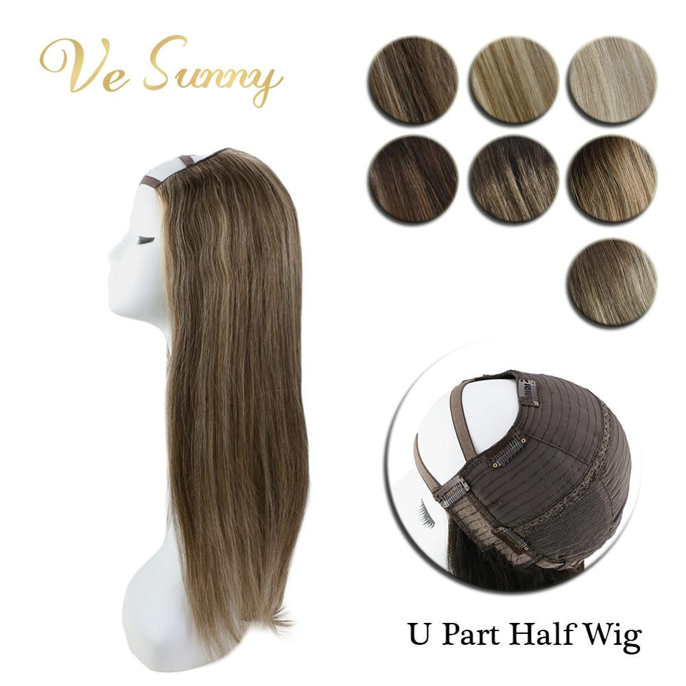 VeSunny U Part Half <font><b>Wig</b></font> 100% Real Human Hair with Clips on No <font><b>Lace</b></font> Balayage Color Ombre Highlights 12-24 inches image