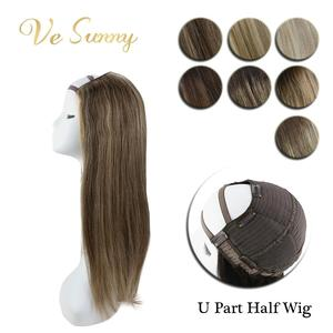 VeSunny U partie demi perruque 100% vrais cheveux humains avec Clips sur pas de dentelle Balayage couleur Ombre met en évidence 12-24 pouces