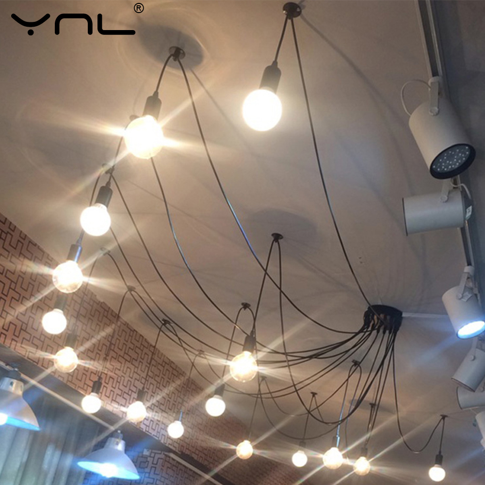 Modern Nordic Chandelier Spider Retro Edison Light Bulb Hanging Ceiling Lamps Vintage Loft Antique Hanging Lamp Fixture