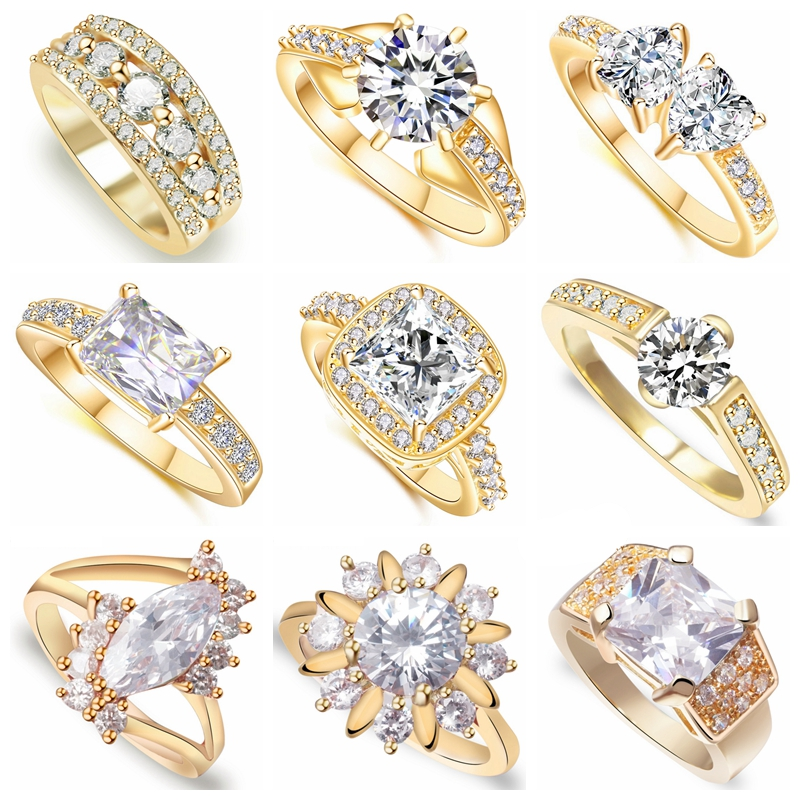 16 Different Styles Fashion Bride Wedding Rings for Women AAA White Cubic Zirconia Crystal Gold Color Jewelry  Engagement Ring