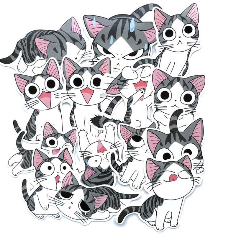 14Pcs Cute Cat Stationery Stickers Kawaii Cartoon Decor Sticker Bullet Journal Sticker For Kids DIY Scrapbooking Diary Albums