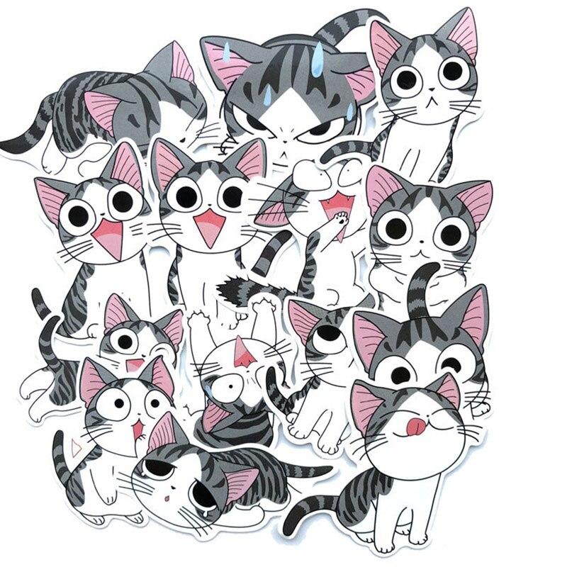 14Pcs Cute Cat Stationery Stickers Kawaii Cartoon Decor Sticker List Journal Sticker For Kids DIY Scrapbooking Diary Albums