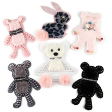 Fashion Garment Accessories Embroidered Plush Nailed Bead Cloth Paste Animal Bear Rabbit Cartoon Patch Sew On