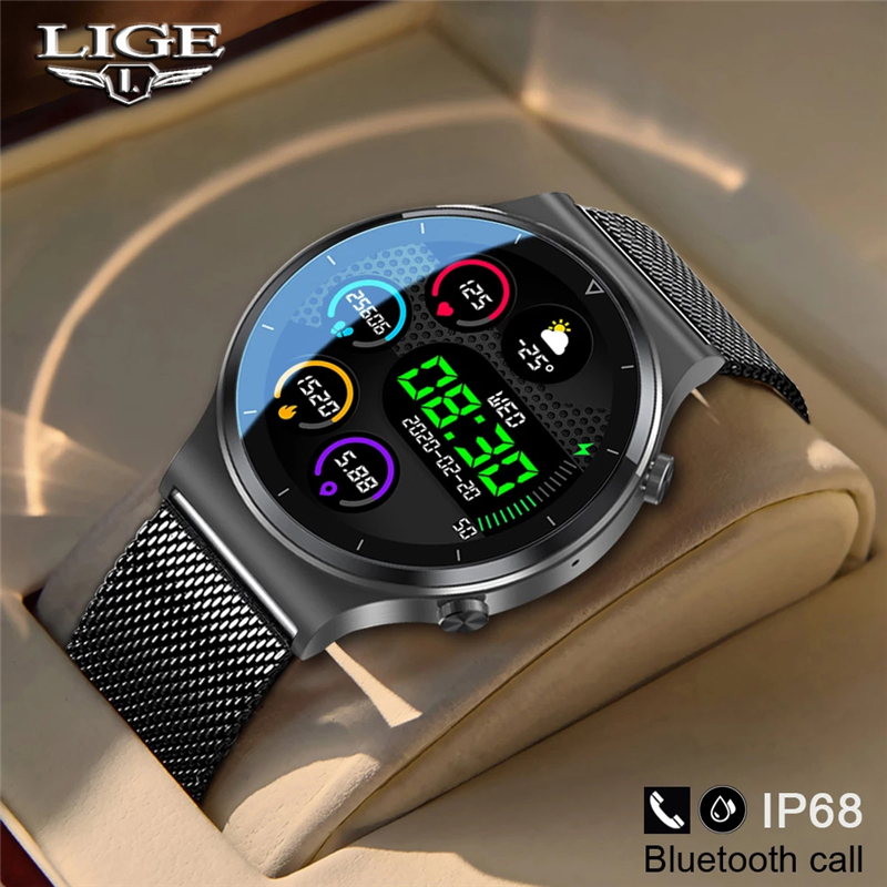 LIGE New Smart watch Men Heart rate Blood pressure Full touch screen sports Fitness watch Bluetooth for Android iOS smart watch