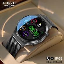 LIGE – montre connectée pour hommes, moniteur dactivité physique, de fréquence cardiaque, de pression artérielle, écran entièrement tactile, Bluetooth, pour Android et iOS, nouveau