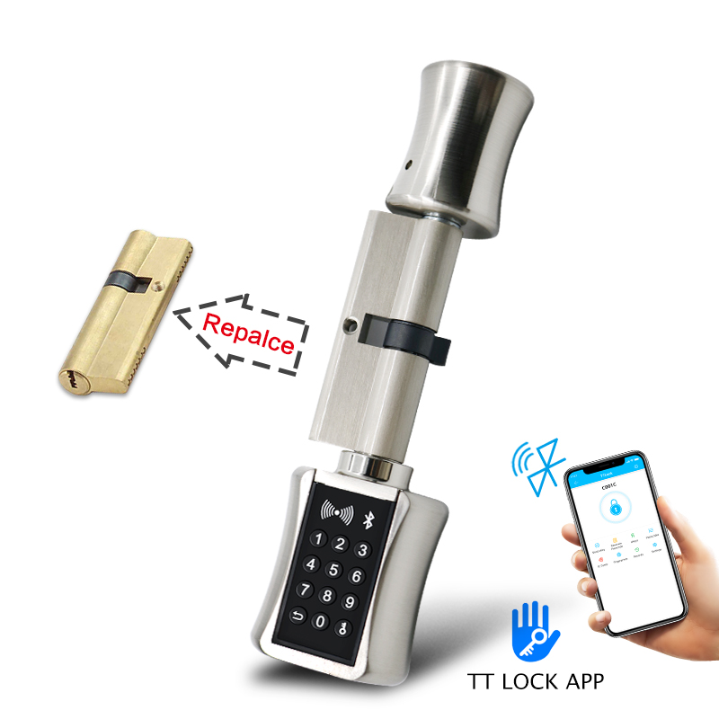 Bluetooth Smart Cylinder Lock  Electronic Door Lock With TT Lock App Remote Control Keypad Code Card Keyless Lock For EU Model