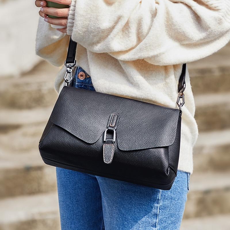 ZOOLER Ladies Crossbody Bag Luxury Handbags Women Shoulder Bags Designer Genuine Leather Black Messenger Bag Female Girls#LD200