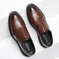 BIMUDUIYU Business Formale Schwarz Leder Schuhe Herren Fashion Casual Kleid Schuhe Klassische Italienisch Formal Oxford Schuhe Für Männer