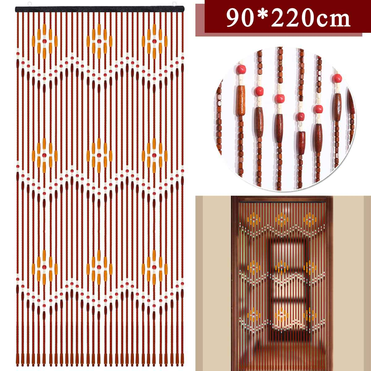 90x220cm 31 Line Wave Wooden Beads Curtain Handmade Fly Screen Wooden Door Curtain Blinds For Porch Bedroom Living Room Divider