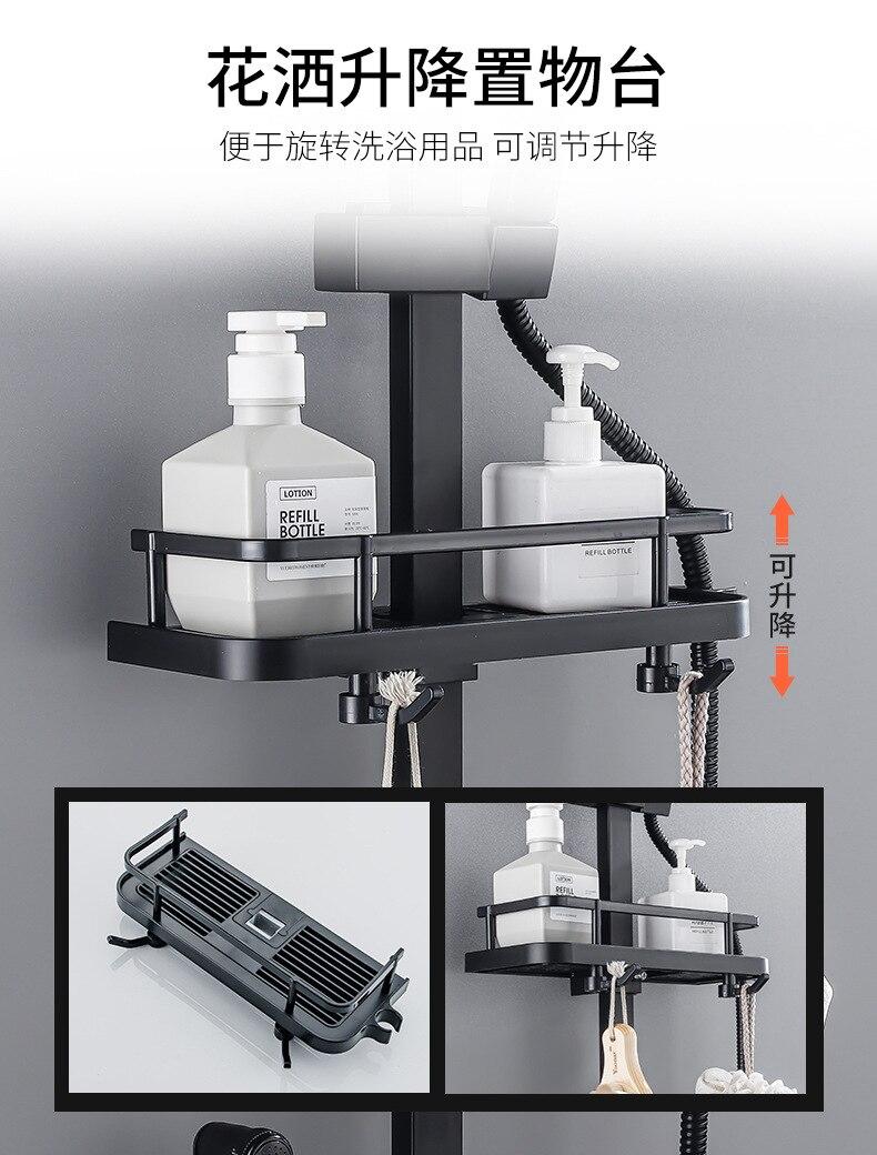 H7168f34dae674cc1aa5d34e0d7082ee32 AE02XC-0008 bathroom shower system full copper black digital display thermostatic shower set four-speed pressurized shower head