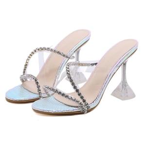 Image 4 - Kcenid прозрачные стразы из ПВХ, хрустальные тапочки, коллекция 2020, Летняя женская обувь с открытым носком для вечерние