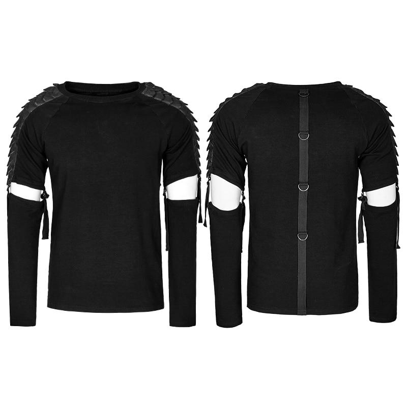 Панк рейв Мужская Панк уличная крутая футболка Готический мотоциклетный стиль модная отстегивающаяся футболка с длинным рукавом хип хоп п... - 5