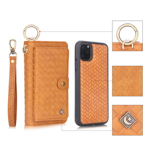 Image 4 - Multifunctional fashion woven pattern zipper FHX SB mobile wallet for iPhone 6S 7 8 Plus X XR XS MAX 11 11Pro MAX mobile wallet