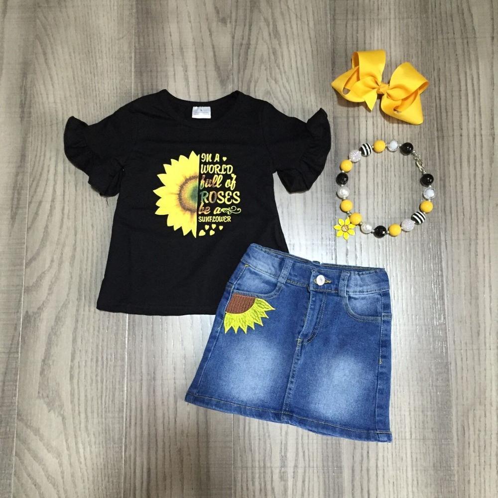 Baby Girls Summer Outfits Black Sunflower Shirt With Jean Dress Girls Summer Outfits With Accessories