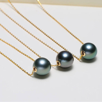 AINUOSHI 18K Solid White/Yellow/Rose Gold Cross Chain Necklace 8 9mm Natural Tahitian Black Pearl Pendant Bead Charm Necklace