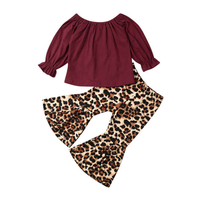 1-6Years Toddler Baby Kid Baby Girl Clothing Set Long Sleeve Ruffles Tops T-shirt+Leopard Flared Pants Outfit Autumn Spring Set
