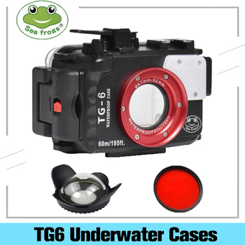 Seafrogs 195FT/60M Underwater Diving Waterproof Camera Case For Olympus TG6 TG-6 With 67mm Fisheyes