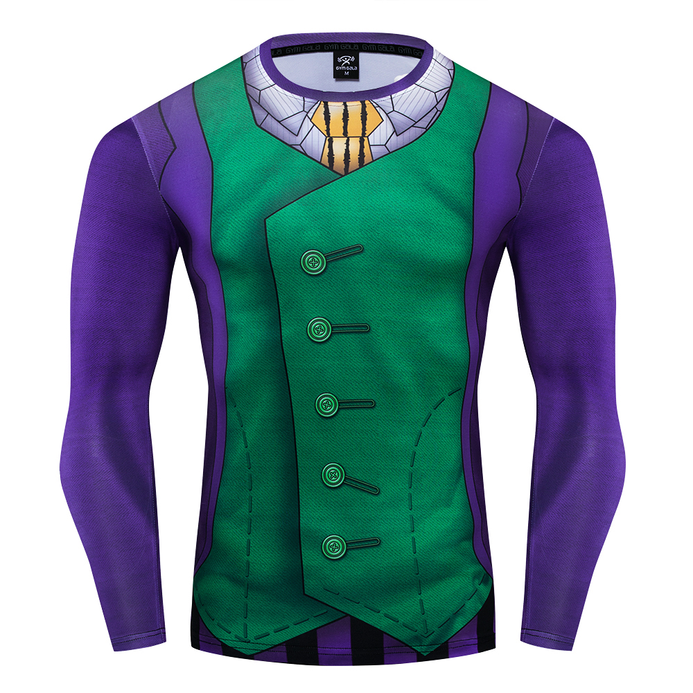 The Joker Cosplay Costume Premium 3D Printed Costume Compression T-shirt Finess Gym Quick-Drying Tight Tops
