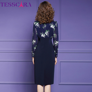 Image 4 - TESSCARA נשים סתיו אלגנטי עיפרון שמלת Festa נקבה משרד מסיבת גלימה באיכות גבוהה אימפריה מותן מעצב בציר Vestidos