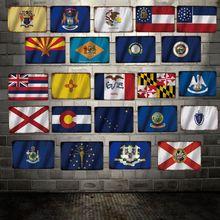[ DecorMan ] USA State Place Flag TIN SIGN Custom wholesale Mural Paintings Bar PUB Decor LT-1893