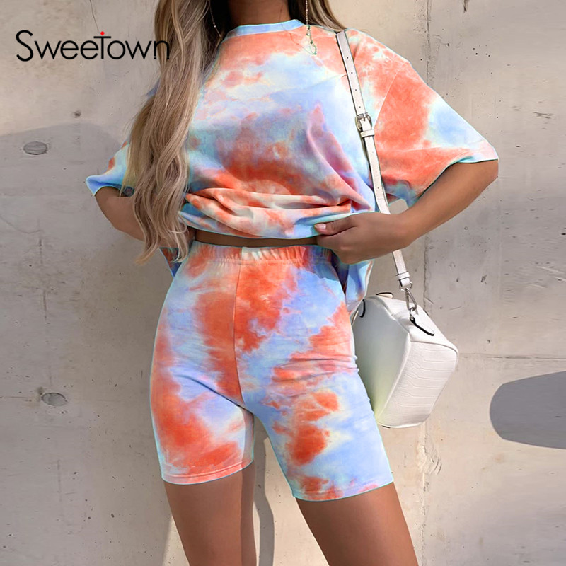 Sweetown Casual Tie Dye Two Piece Set Matching Sets Women Gym Clothing Short Sleeve Oversized Tshirt And Shorts Set Track Suits