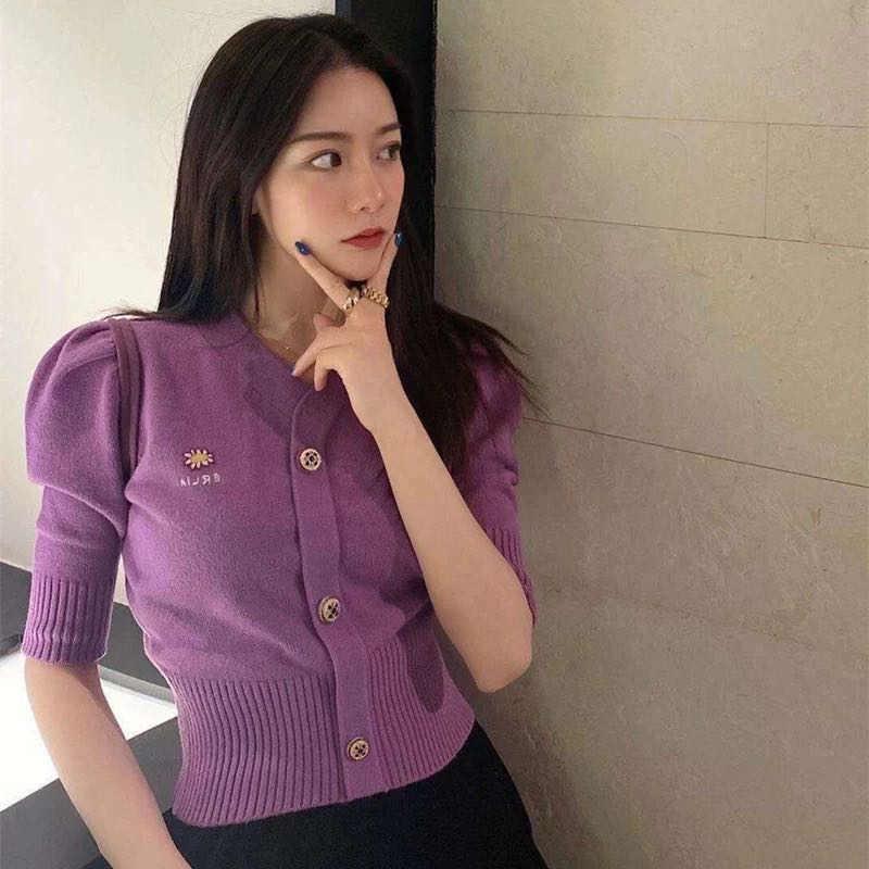 Camisola roxa feminina manga curta com decote em v do vintage margarida floral bordado puff manga camisola casaco primavera malha cardigan w685