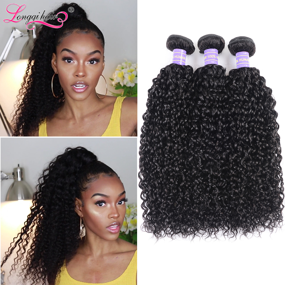 Longqi Curly Hair Bundles Remy Human Hair Brazilian Hair Weave Bundles 8 26 Inch Natural Black Human Hair Extension 1/3/4 Bundle-in Hair Weaves from Hair Extensions & Wigs