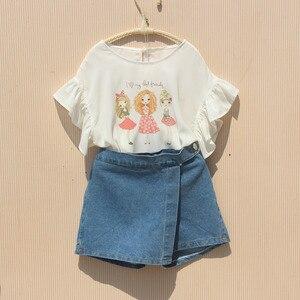 Image 5 - Kız yaz şort 2020 çocuk elastik bel kot pantolon bebek kız genç pamuk gevşek mavi kot şort kız giyim
