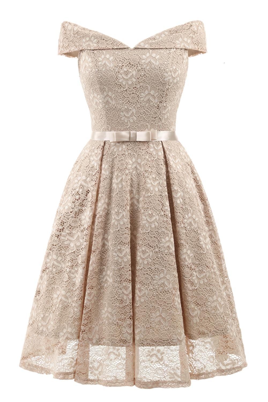 A-Line V Neck Off Shoulder Lace Knee-length Lace Bridesmaid Dress 11