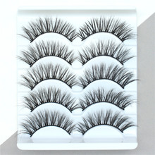 5Pairs 2D Mink Hair Eyelashes Extension Natural Thick Long Fake Eye Lashes lahes Wispy Women Make up Beauty Tools 3D60